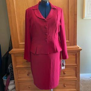 Deep Red Suit Skirt Set
